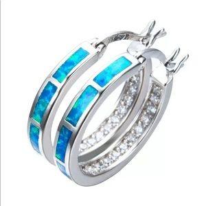 1 pair fire opal 3 color choices - hoop earrings